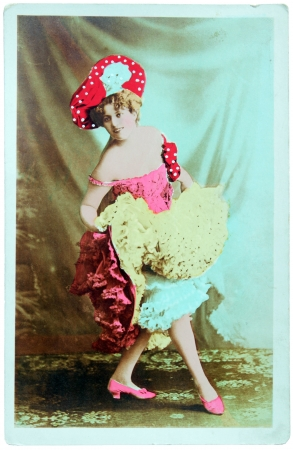 GERMANY - CIRCA 1900: a vintage postcard printed in GERMANY shows hand painted photograph of beautiful lady in fashion dress of 1900. Circa 1900. Stock Photo - 13789631