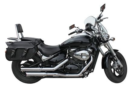 stilish: Stilish black motorcycle side view isolated on a white background.