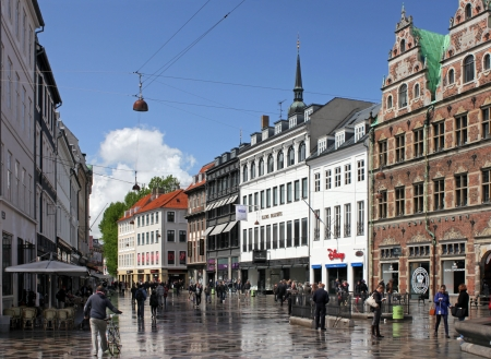 COPENHAGEN - MAY 17 : Stroget - this popular tourist attraction in the center of town is the longest pedestrian shopping area in Europe in Copenhagen, Denmark. On May 17, 2012