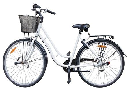 fiets: Oude retro-stijl fiets geïsoleerd op witte achtergrond