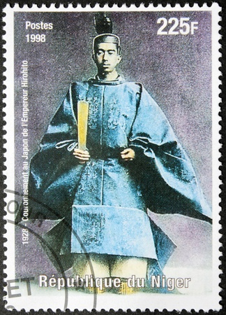 NIGER - CIRCA 1998: A postage stamp printed by Niger shows image portrait of Emperor of Japan Hirohito (Emperor Showa) (1901-1989), circa 1998. Stock Photo - 14963200