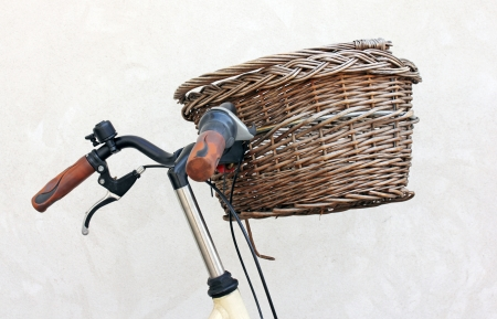 Close up view of old retro style bicycle basket.  Stock Photo - 14970476