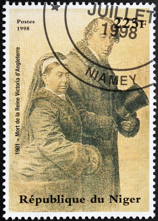 NIGER - CIRCA 1998: A postage stamp printed by Niger shows image portrait of United Kingdom Queen Victoria (1819-1901) and Prince Albert (1819-1861), circa 1998.
