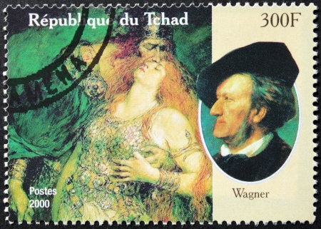 richard: CHAD - CIRCA 2000: A postage stamp printed by Chad shows image portrait of famous romantic German composer and conductor Wilhelm Richard Wagner, circa 2000.