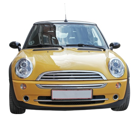 Smal yellowl stylish car front view isolated on a white background