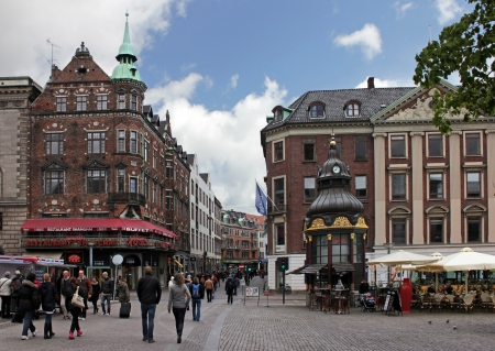 COPENHAGEN - MAY 17 : Stroget - this popular tourist attraction in the center of town is the longest pedestrian shopping area in Europe in Copenhagen, Denmark. On May 17, 2012 Editorial