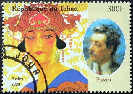 composer: CHAD - CIRCA 2000: A postage stamp printed by Chad shows image portrait of famous Italian composer Giacomo Puccini, circa 2000. Editorial