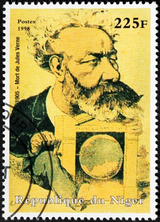 NIGER - CIRCA 1998: A postage stamp printed by Niger shows image portrait of famous French author Jules Verne who pioneered the science fiction genre, circa 1998.