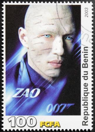 screenwriter: BENIN - CIRCA 2003 Un francobollo stampato dalla Benin mostra attore, sceneggiatore e produttore Rick Yune protagonista nel film