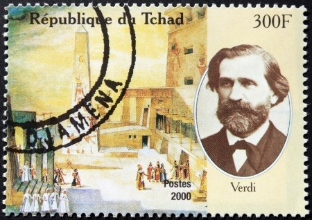 CHAD - CIRCA 2000  A postage stamp printed by Chad shows image portrait of famous Italian romantic composer Giuseppe Verdi, circa 2000