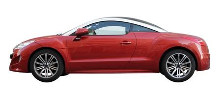 Kleine stijlvolle auto zijaanzicht geïsoleerd op een witte achtergrond. Redactioneel