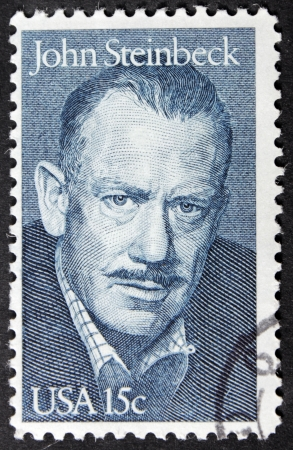 steinbeck: UNITED STATES - CIRCA 1979: A stamp printed by United States shows portrait of famous American writer John Steinbeck (1902-1968), circa 1979