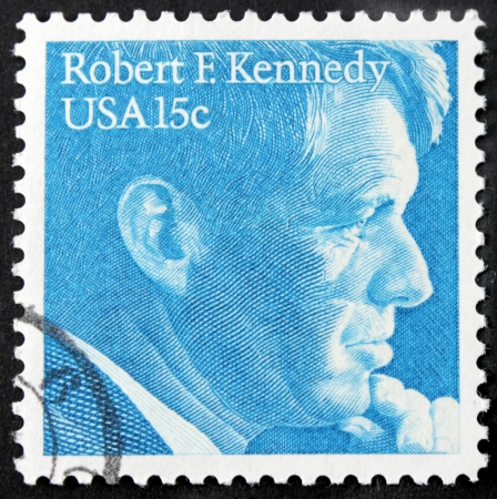 robert: UNITED STATES - CIRCA 1979: A stamp printed by United States shows portrait of American politician, Democratic senator from New York Robert Francis Kennedy, circa 1979