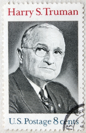 USA - CIRCA 1973. A postage stamp printed by USA shows image portrait of famous American politician, 33rd President of the United States Harry S. Truman, circa 1973.