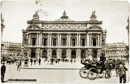 FRANCE - CIRCA 1908: a postcard printed in FRANCE shows a photograph of famous Palais Garnier which was built for the Paris Opera, circa 1908.