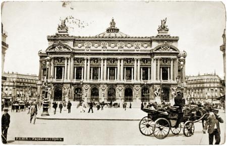 palais garnier: FRANCE - CIRCA 1908: a postcard printed in FRANCE shows a photograph of famous Palais Garnier which was built for the Paris Opera, circa 1908.