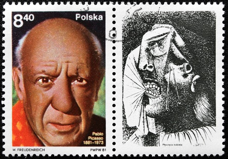 pablo: POLAND - CIRCA 1981: A stamp printed by Poland shows portrait of famous artist Pablo Picasso, with label showing picture  Editorial