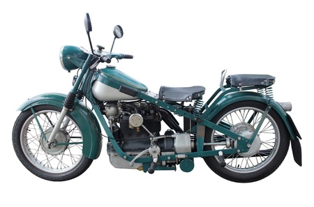 Old retro style motorcycle side view isolated on white background Stock Photo