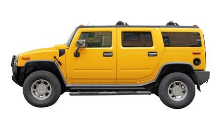 Stylish Sport Utility Vehicle side view isolated on white background