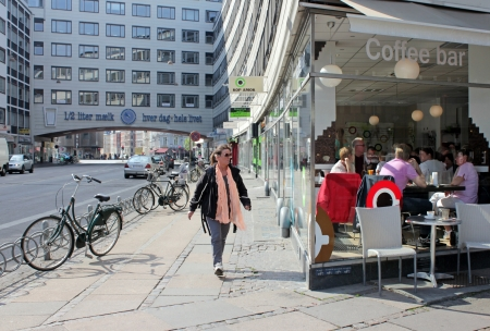 Denmark. Copenhagen street scene at the crossroad of Vester Farimagsgade and Ved Vesterport street, May 20, 2012.