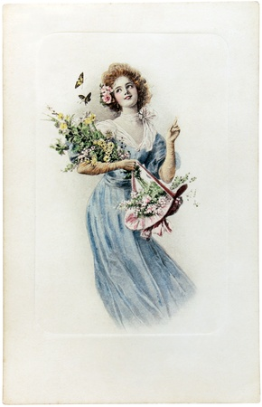frenchwoman: FRANCE - CIRCA 1909: a vintage postcard printed in France shows hand painted picture of young beautiful girl with flowers,  circa 1909. Editorial