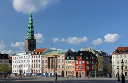 COPENHAGEN - MAY 17, 2012: Ved Stranden is a canal side public space and street which runs along or short section of the Zealand side of Slotsholmen Canal in central Copenhagen, Denmark. May 17, 2012