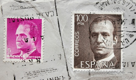 carlos: SPAIN - CIRCA 1987: A set of two stamps printed by SPAIN shows portrait of King Juan Carlos, circa1987.