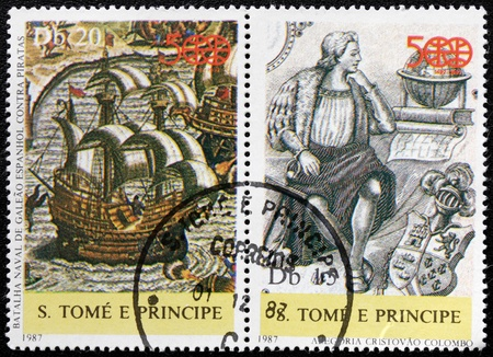 SAO TOME AND PRINCIPE - CIRCA 1987: set of two postage stamps printed by S.Tome and Principe shows image portrait of  Christopher Columbus and ancient ship, circa 1987.