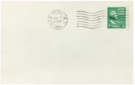 USA - CIRCA 1944: postage stamp printed by USA shows image portrait of George Washington. The stamp is on old postcard, circa 1944.