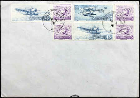 SWEDEN - CIRCA 1976: A set of seven stamps printed by Sweden shows old seaplanes, circa 1976.  photo