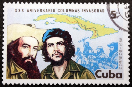 CUBA - CIRCA 1988: A postage stamp printed by CUBA shows portraits major figures of the Cuban Revolution - Ernesto