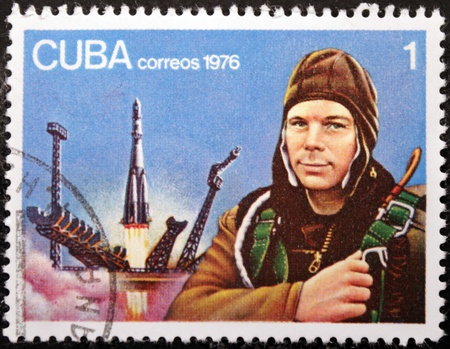 gagarin: CUBA - CIRCA 1976: A postage stamp printed by CUBA shows  image portrait of famous Soviet pilot and cosmonaut Yuri Gagarin, circa1976.