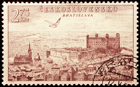 CZECHOSLOVAKIA - CIRCA 1955: a stamp printed by Czechoslovakia, shows birds-eye view of Bratislava, circa 1955.