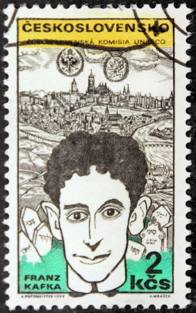CZECHOSLOVAKIA - CIRCA 1969: A stamp printed by Czechoslovakia shows image portrait of famous Austrian writer Franz Kafka, circa 1969