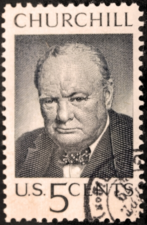 USA - CIRCA 1965. A postage stamp printed by USA shows image portrait of famous British politician, Prime Minister of the United Kingdom Sir Winston Churchill, circa 1965.