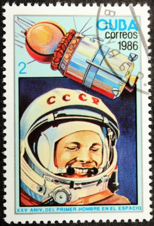 gagarin: CUBA - CIRCA 1986: A postage stamp printed by CUBA shows  image portrait of famous Soviet pilot and cosmonaut Yuri Gagarin, circa 1986.