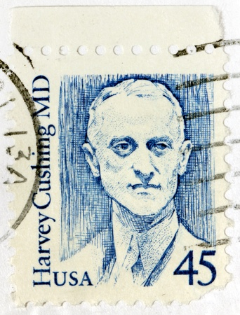 USA - CIRCA 1988  A postage stamp printed by USA shows image portrait of famous American neurosurgeon Harvey Cushing  He is often called the  father of modern neurosurgery   Circa 1988