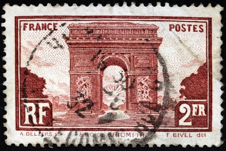FRANCE - CIRCA 1931  a stamp printed by FRANCE shows view of The Triumphal Arch  Arc de Triomphe  is one of the most famous monuments in Paris, circa 1931