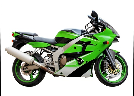 motors: Stylish green motorcycle side view against a white background. Stock Photo