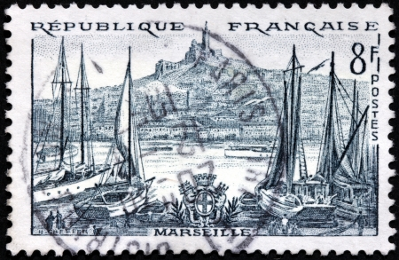 FRANCE - CIRCA 1955: a stamp printed by FRANCE shows view of Marseille, circa 1955