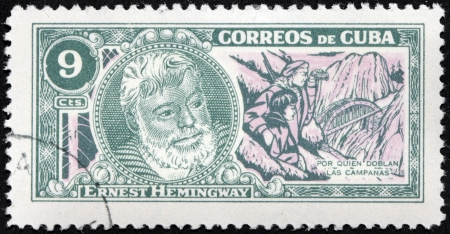ernest: CUBA - CIRCA 1963: A stamp printed by CUBA shows image portrait of Nobel Prize-winner for Literature famous American writer Ernest Hemingway (1899-1961), For Whom the Bell Tolls, circa 1963 Editorial