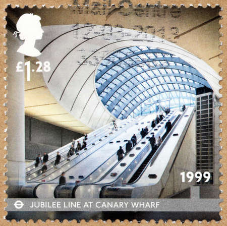 bisiness: UNITED KINGDOM - CIRCA 1999: a stamp printed by UNITED KINGDOM shows view of Canary Wharf station at the London Underground Jubilee line, circa 1999. Editorial