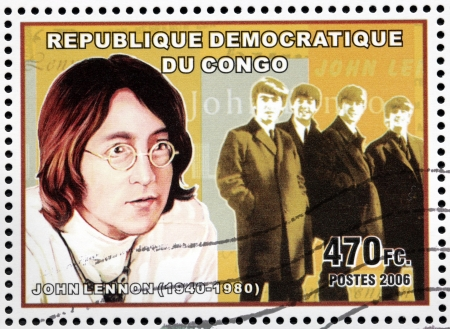 john lennon: CONGO - CIRCA 2006: A postage stamp printed by CONGO shows image portrait of  famous English musician, composer, singer and songwriter John Lennon, circa 2006.