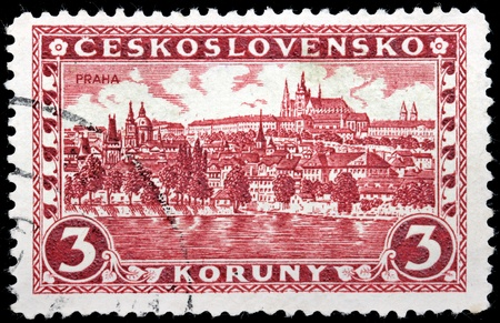 CZECHOSLOVAKIA - CIRCA 1926: A stamp printed by Czechoslovakia shows beautiful view of Hradcany district at Prague, circa 1926. Stock Photo - 21323867