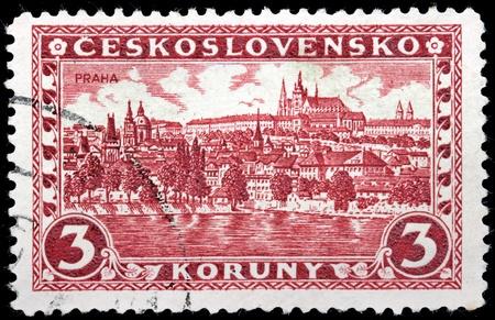 CZECHOSLOVAKIA - CIRCA 1926: A stamp printed by Czechoslovakia shows beautiful view of Hradcany district at Prague, circa 1926. Stock Photo - 21323867