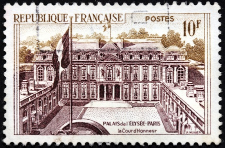 FRANCE - CIRCA 1957: a stamp printed by FRANCE, shows the official residence of the President of the French Republic Elysee Palace in Paris, circa 1957.