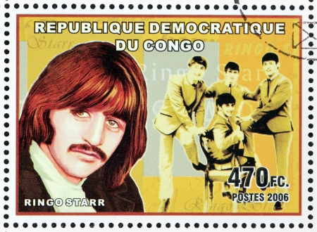 english famous: CONGO - CIRCA 2006: A postage stamp printed by CONGO shows image portrait of  famous English musician Ringo Starr, circa 2006.