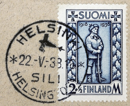 FINLAND - CIRCA 1938: a stamp printed by FINLAND shows image of Finnish soldier, circa 1938.