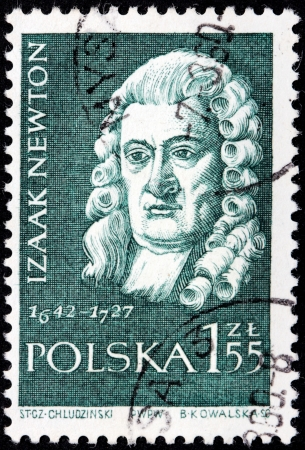 POLAND - CIRCA 1959  A Stamp printed by POLAND shows Sir Isaac Newton - the great English physicist, mathematician, public figure, circa 1959 Stock Photo - 21333396
