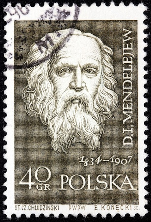mendeleev: POLAND - CIRCA 1959: a stamp printed by POLAND shows Russian Chemist and Inventor Dmitry Mendeleev, circa 1959.